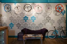 BICYCLE STORES! Superb bicycle boutique by O Z I I O, Boston store design #decorate #wall