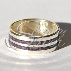 Ring R10045 - Sterling Silver Haudenosaunee Iroquois 6 Six Nations Kaswentha 2-Row Treaty Belt Skydome Creation Story Stamped Wampum Quahog Purple White Designed Ring