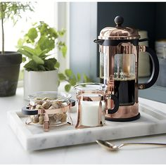 Bodum ® Chambord Copper 34 Ounce French Press Copper Bodum coffee press on a marble serving tray wit Crate And Barrel, Coffee Tray, Coffee Corner, Marble Tray, French Press Coffee Maker, Coffee Service, Mocca, Cream And Sugar, Kitchen Items