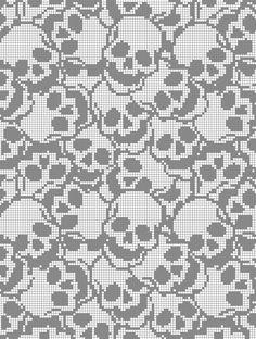 Crochet C2c Pattern, Crochet Skull Patterns, C2c Crochet Blanket, Crochet Quilt, Crochet Chart, Cross Stitch Skull, Cross Stitch Love, Cross Stitch Designs, Cross Stitch Patterns