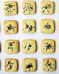 These buttery shortbread cookies combine two classic Japanese flavors—matcha green tea and black sesame seeds.