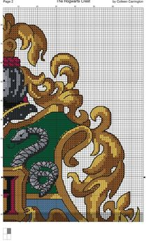 The World In Stitches — The Hogwarts Crest Cross Stitch Chart PDF...