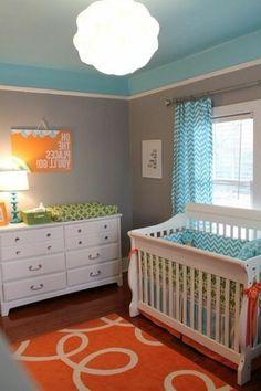 2013/02/babyzimmer,dekorieren,chevron,muster,wand,pompoms,babyblau