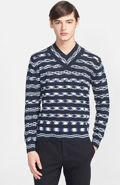Men's Missoni Space Dye Stripe V-Neck Sweater