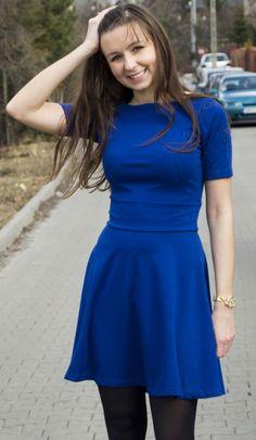 Sukienka Rozkloszowana z Krótkim Rękawem Dresstination - Dresstination