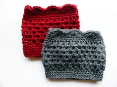 Crocheted Deep Red or Gray Boot Cuffs by ACCrochet on Etsy, $20.00