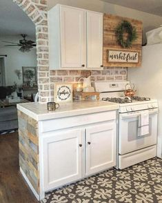 White Tile Counters W/ Whitewash Brick Backsplash/////////Love The Barn  Wood Above The Stove