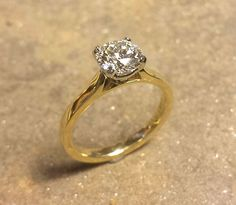 Classic Round Brilliant Cut Diamond Engagement Ring in Yellow Gold Custom Made Engagement Rings, Diamond Engagement Rings, Custom Jewelry Design, Fine Jewelry, Jewels, Yellow, Classic, Unique, Gold