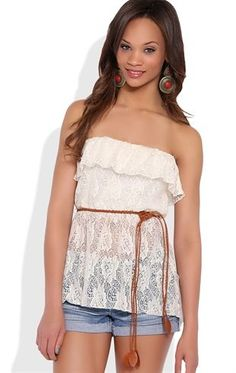 Deb Shops High Low Crochet Ruffled Lace Tube Top with Belted Waist $15.75