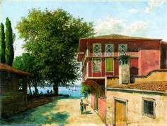 H.Ali Rıza-033 Beautiful Paintings Of Nature, Istanbul, Turkish Art, Ottoman Empire, Illustrations, Various Artists, Atlantis, Old Houses, Home Art