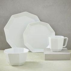 Geometric Dinnerware Set & Hexagon plates with rotational symmetry pure white color beautiful ...