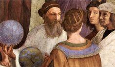 """Rafaël, """"De school van Athene"""", detail,  Ptolemaeus,  en Grieks astroloog, astronoom, geograaf, wiskundige en muziektheoreticus die leefde in Alexandrië."""