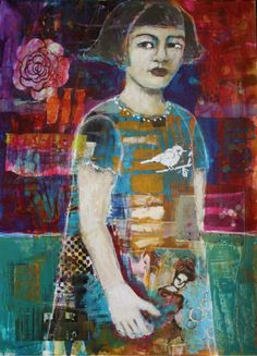 "gritty arts studio just standing there 30.5"" x 22"" mixed media on 300 lb paper available here: https://www.etsy.com/listing/179604759/just-standing-there-original-mixed-media"