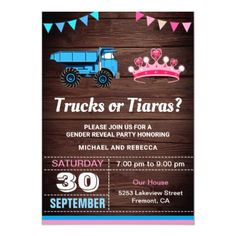 Shop Trucks or Tiaras Gender Reveal Party Invitation created by ShabzDesigns. Gender Reveal Party Invitations, Baby Shower Invitations, Custom Invitations, Pregnancy Gender Reveal, Baby Gender Reveal Party, Country Gender Reveal, Pregnancy Announcement Cards, Gender Reveal Decorations, Baby Banners