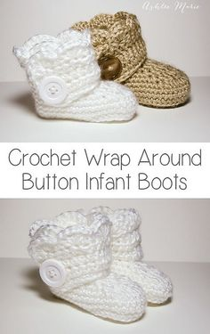 Crochet wrap around button infant boots- girls and boys-FREE PATTERN