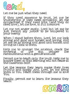 A teacher's prayer... Love this!!