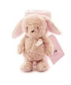 Bizzi Growin Flutterbye Knitted Blanket and Rabbit Plush