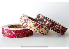 $5.50  Vintage Floral Pattern Cotton Fabric Tape - Decorative Tape