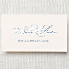 Letterpress Ecruwhite Calling Card: A macaron for Charlotte and a brioche for little Henri. Sweet and charming, like the corner bakery you adore, letterpress printed Newport blue script on an ecruwhite business card offers a treat most savory.