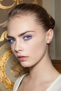 Vivid blue-purple mascara, as seen at Stella McCartney