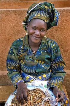 Fish Woman in traditional dress in Ghana