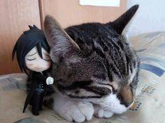 ☄★○ collectible anime figures ~ like 2D come to life ♥ Sebastian from 'Kuroshitsuji' - nendoroid figure - anime figure - chibi - smile - hug - cat - cute - kawaii ○★☄