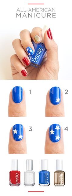 Go for it with an all-American mani. Featured essie nail polish: Really Red, Butler Please (blue), Blanc, and Good as Gold. Patriotic style at your fingertips from Kohl's.