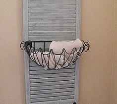 DIY Shutter Caddy. So cute for a beach house bathroom.