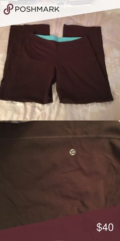 Lululemon brown pants No size dot believe a size 12 is reversible has sign on both inside and out has some pilling by crotch area Pants Boot Cut & Flare