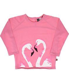 Molo zacht roze t-shirt met witte flamingos. molo.nl.emilea.be