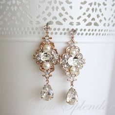 Beautiful gold antique diamond and pearl earrings