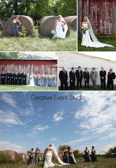 Kansas City Wedding - Photography - Farm Rustic Country Barn Wedding Decor Wedding Party Pictures - Bridal Portrait  www.creativeeventstudio.com