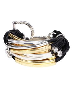 Love this Black & Two-Tone String Bracelet by SAACHI Style on #zulily! #zulilyfinds