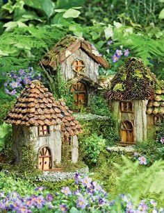 ♧ Charming Fairy Cottages ♧ garden faerie gnome & elf houses & miniature furniture - fae village