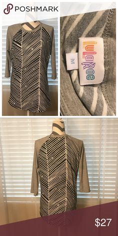 ✨Like New✨ LuLaRoe Randy, Black, White & Gray, Med ✨Like New✨ LuLaRoe Randy, Black, White & Gray, Med, baseball style Raglan shirt, herringbone / chevron pattern, pair this with almost any other LuLaRoe piece, or just with jeans! So soft & comfy. Non-Smoking LuLaRoe Tops Tees - Long Sleeve