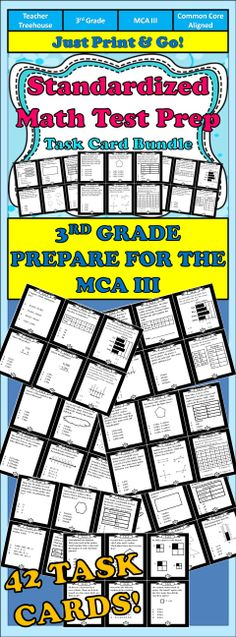 This beautiful set of 42 task cards are the perfect way to prepare your students for the MCA III. Each task card is labeled with the specific benchmark of the Minnesota state standards it aligns with.
