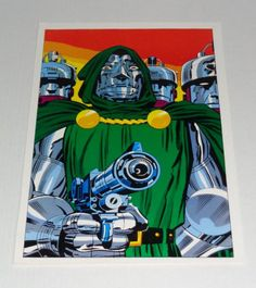 Rare vintage original 1970's Marvel Comics Fantastic Four super-villain Dr Doom poster pin-up 1 with art by Jack Kirby: 1970's Marvelmania. 1000's of vintage Marvel and DC Comics posters and color guide art pages available for sale at SUPERVATOR.COM and SUPERVATORCOMICPOSTERSANDART.COM