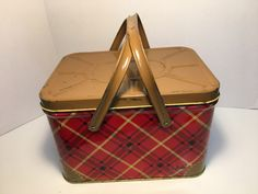 Adorable collectable tin basket with handles. Rare Red and Brown and golden yellow plaid design. Tin, Picnic, My Etsy Shop, Basket, Plaid, Brown, Unique Jewelry, Handmade Gifts, Vintage
