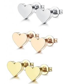 1-3 Pairs Stainless Steel Heart Stud Earrings for Women Men A-3 Pairs  CP17YDRD95R 69511ab744a4