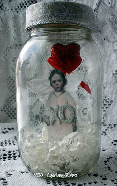 VaLenTinE WiShEs FaiRY JaR Altered  Keepsake Art. $15.95, via Etsy.