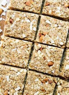 10 Must-Make Healthy Homemade Granola Bars - Almond Coconut Granola Bars from Cookie + Kate Yummy Snacks, Healthy Snacks, Healthy Recipes, Healthy Breakfasts, Healthy Eats, Protein Snacks, Vegan Snacks, Healthy Smoothies, Eating Healthy