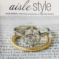 """Our """"Arielle"""" ring and """"Jane"""" hammered band featured in the fall issue of @charlestonweddings! Both of these beauties are available @croghans!"""