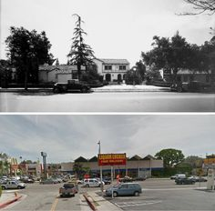 Top: The Garden of Allah Hotel on Sunset Boulevard as it appeared around 1935; bottom: the dreary shopping center that replaced it in 1959 as it appears today.