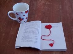 crochet heart bookmark.