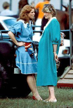 6-1982 Princess Diana and Sarah Ferguson at Windsor Polo