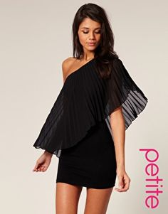 ASOS PETITE Pleated One Shoulder Body-Conscious Dress