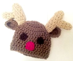 Crochet Reindeer Hat  Custom Order  Any size Choice of by skylay, $22.00