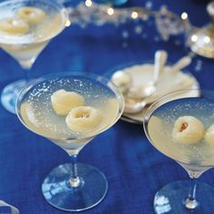 Prosecco and lychee jellies with edible glitter A light dessert, perfect if you've had enough to eat after Christmas lunch