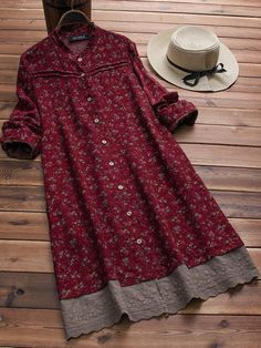 Contrasting patchwork and embroidery is a very special item of clothing indeed. Check out this beautiful Long Sleeve Floral Print Patchwork Embroidery Hem Dress today 🖤 .Gracila Embroidered Floral Print Patchwork Long Sleeve Vintage Dresses is hig Women's Dresses, Stylish Dresses, Dresses Online, Casual Dresses, Floral Dresses, Cotton Dresses, Dance Dresses, Floral Outfits, Dress Outfits