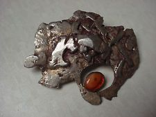 Unusual Vtg Modernist Abstract Chunky Sterling Silver Baltic Amber Brooch Pin